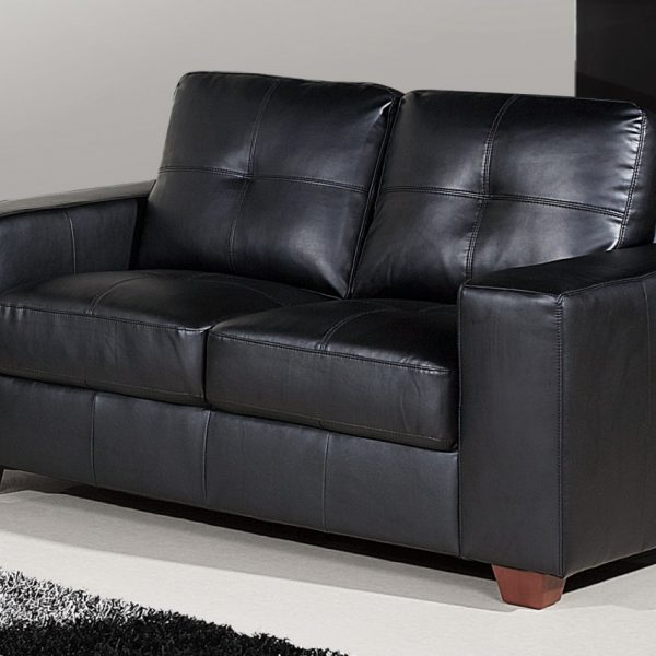 Lounge, 2  Seater, Black Leather