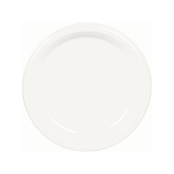 7in Round Plastic Plate – White