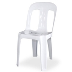 Bistro Chair, white plastic, stackable