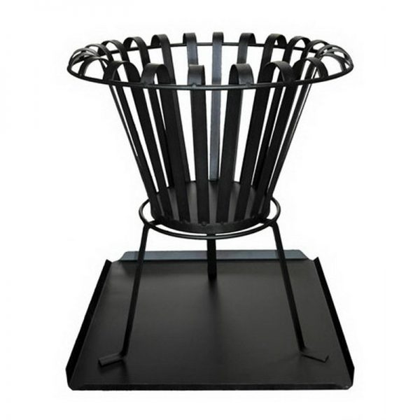 Brazier, Black wrought iron inc. tray
