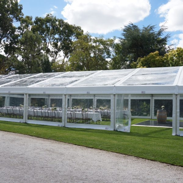 Marquee Structure 10m width – Clear Roof